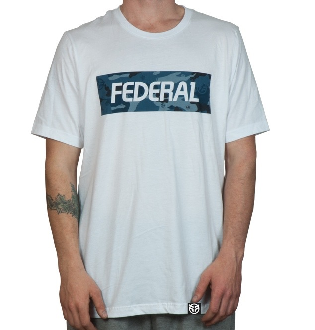 Federal blue camo t shirt white for Fast delivery custom t shirts