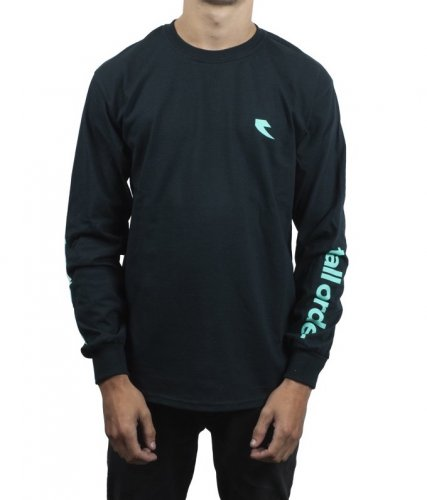 Tall Order LS LOGO T-Shirt Black/ Teal Arm Print
