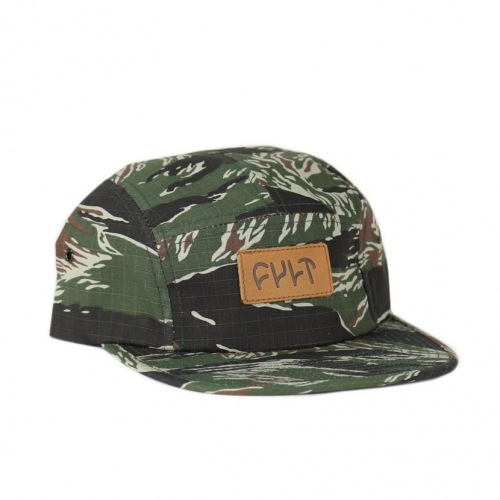 Cult 5 Panel CAMPER Hat Tiger Camo/Leather