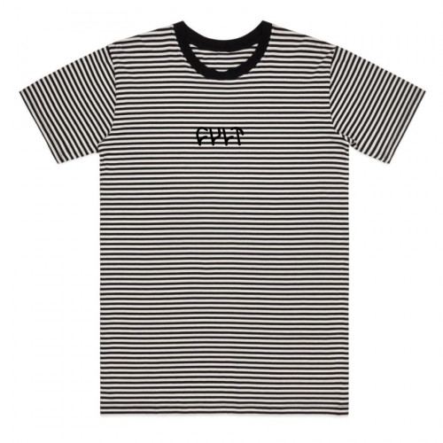Cult STRIPE LOGO T-Shirt Black