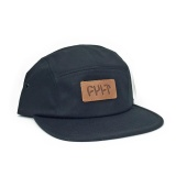 Cult 5 Panel CAMPER Hat Black/Leather