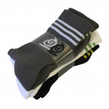 Thebikebros STRIPE HEAD 3-Pack Socks Black/Grey/White